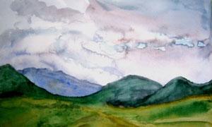 连绵起伏的山峰水彩画主题高清图片