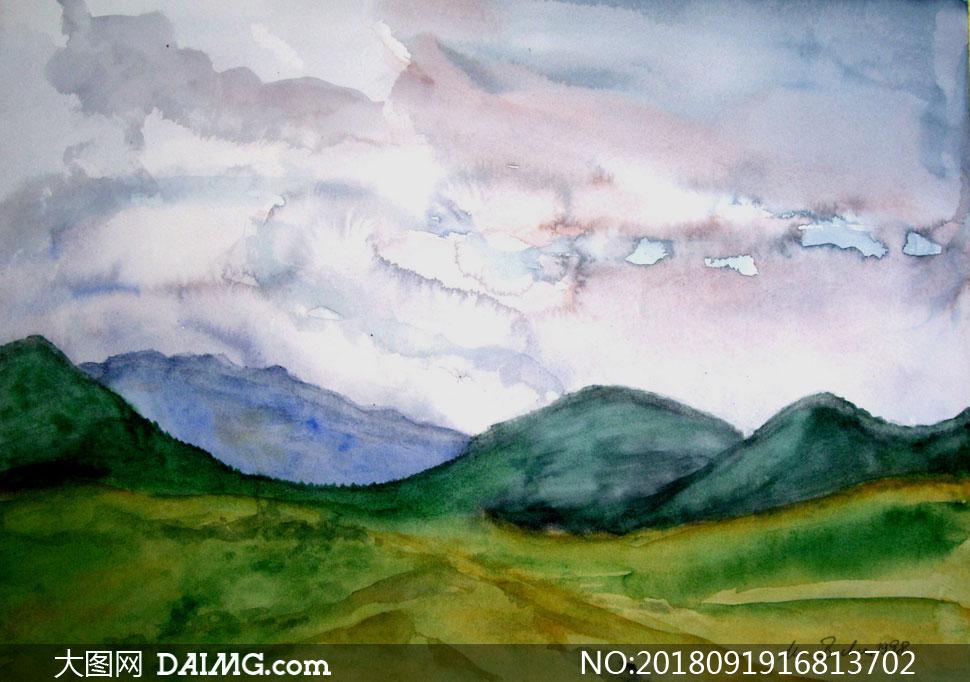 创意美术作品画作手绘风景风光自然远山高山大山山峰山峦山野田野天空