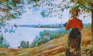 在眺望湖泊风光的人物绘画高清图片
