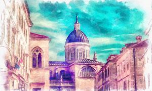 欧洲城市楼房建筑物水彩画高清图片