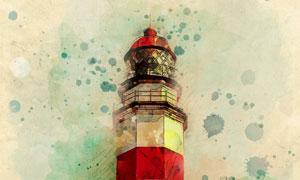 復古懷舊效果燈塔繪畫設計高清圖片