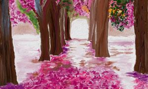 大树与地上的花瓣绘画创意高清图片