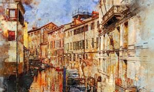 水城威尼斯街道风光水彩画高清图片