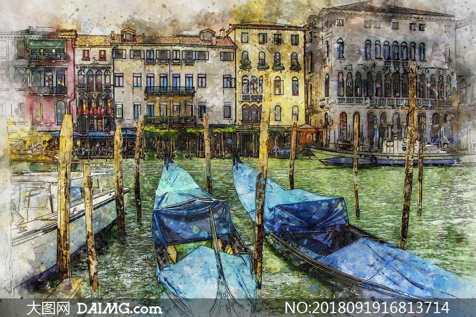 意大利威尼斯城市风光绘画高清图片
