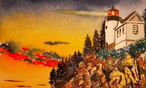 海边的灯塔与房子绘画创意高清图片