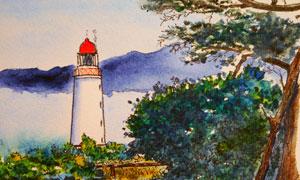 灯塔与茂密的树丛绘画设计高清图片