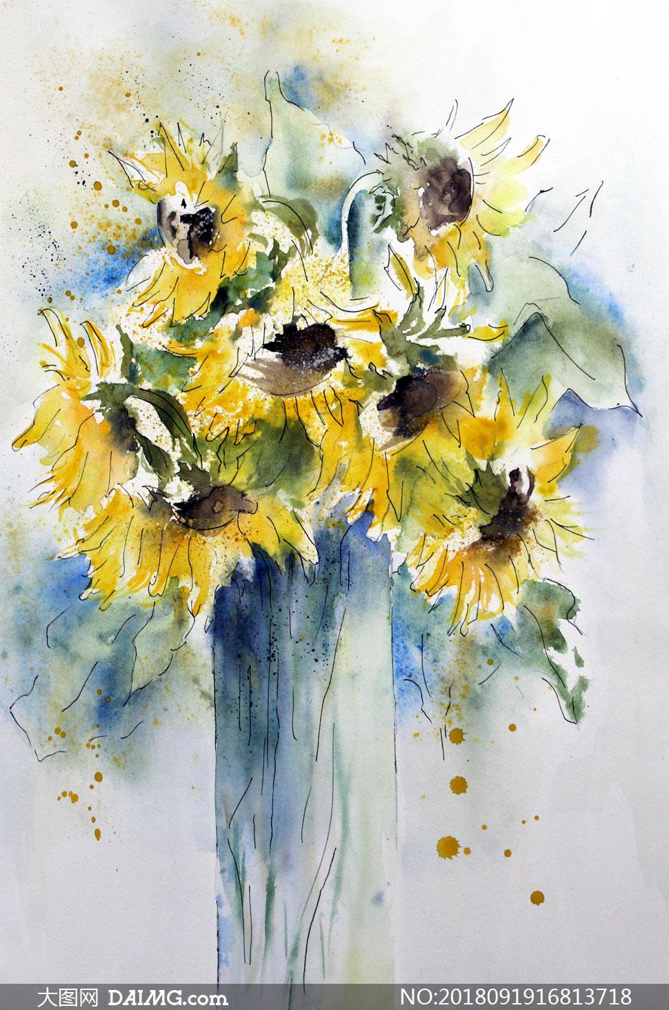 向日葵花朵主题水彩画设计高清图片