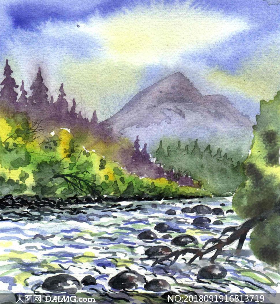 高山树木河流风光绘画设计高清图片