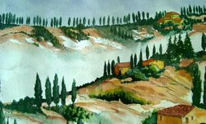 山坡上的树木房子水彩绘画高清图片