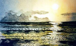 黄昏落日水上风光绘画设计高清图片