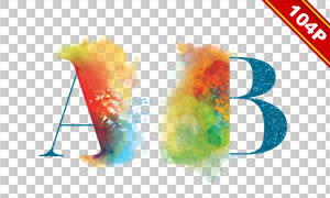 四种样式水彩元素字母设计免抠素材
