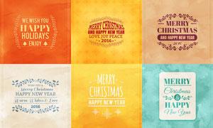 水彩纹理装饰的圣诞节卡片矢量素材