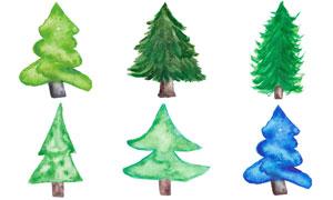 水彩效果圣诞树创意设计矢量素材V01