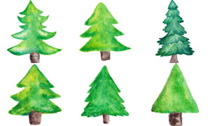 水彩效果圣诞树创意设计矢量素材V02