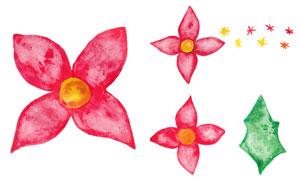 红色水彩花朵主题创意设计矢量素材