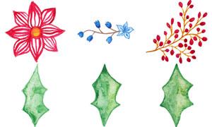 水彩手绘花朵绿叶主题设计矢量素材