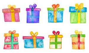 缤纷多彩手绘效果的礼物盒矢量素材