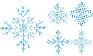 手绘风冬日季节雪花元素矢量素材V02