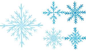 手绘风冬日季节雪花元素矢量素材V04