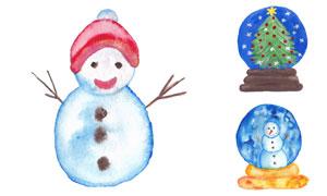 手绘效果雪人与水晶球创意矢量素材