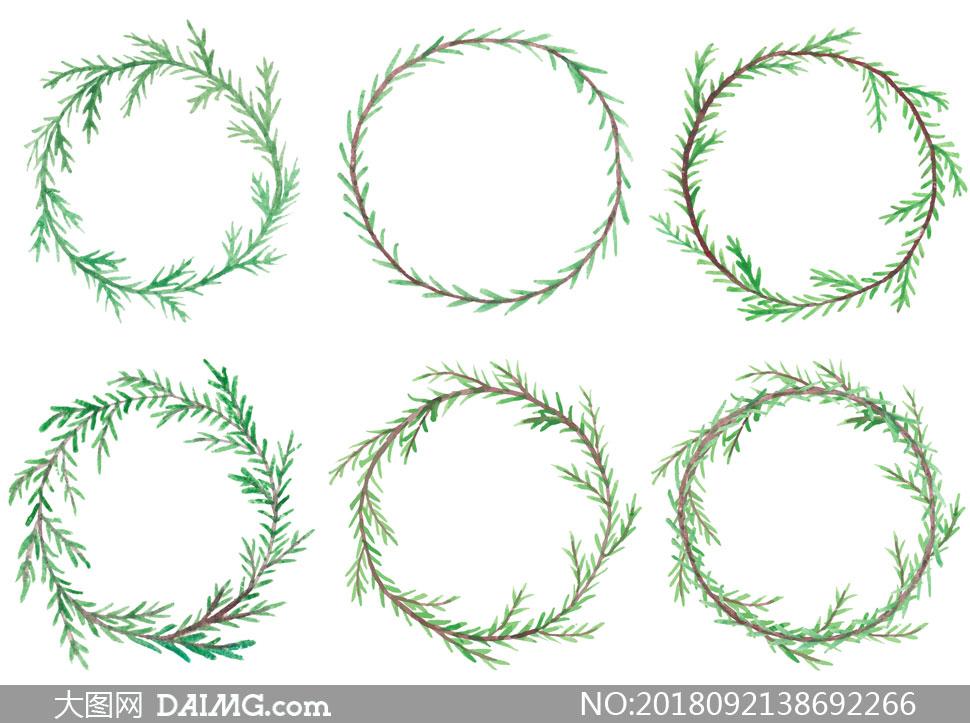 关 键 词: 矢量素材矢量图设计素材创意设计水彩手绘边框圆形松枝