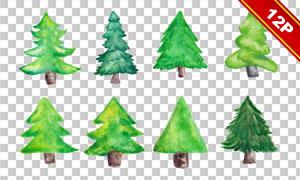 12款手绘水彩风圣诞树免抠图片素材