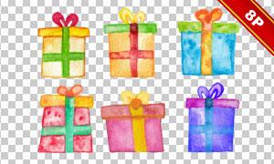 手绘水彩风格的礼物盒设计免抠素材