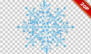 水彩效果蓝色雪花元素免抠图片素材