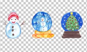 水彩雪人与水晶球元素免抠图片素材