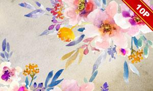 四方连续无缝手绘花朵背景高清图片