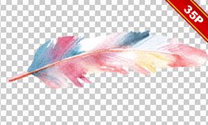 五颜六色的水彩羽毛免抠图片素材V2