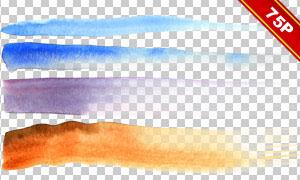 水彩墨迹笔触效果图案免抠图片素材