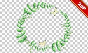 水彩圆形花草边框主题免抠图片素材
