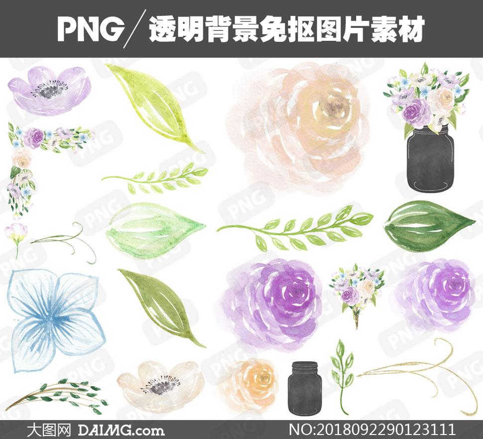 水彩素材手绘素材逼真质感花朵花卉鲜花植物花草花束边框绿叶叶子树叶