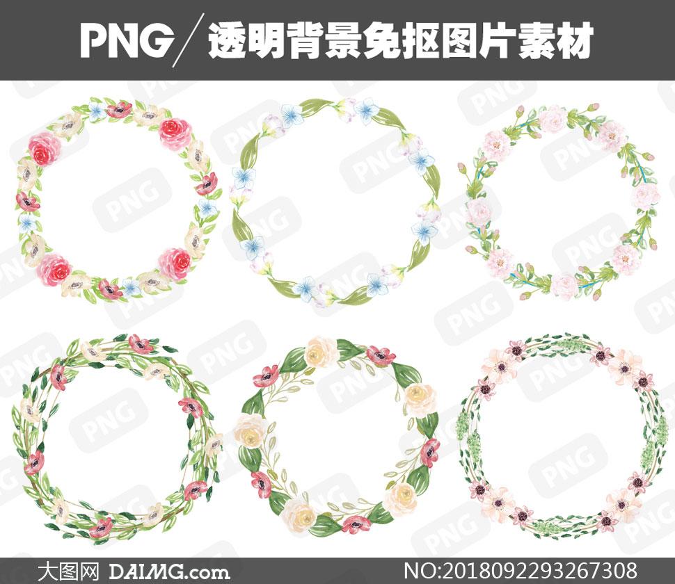 水彩藤蔓花朵元素边框设计免抠素材