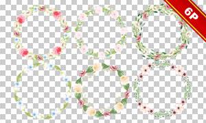 水彩藤蔓花朵元素边框大红鹰娱乐免抠素材