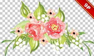 水彩绿叶红花装饰元素免抠图片素材