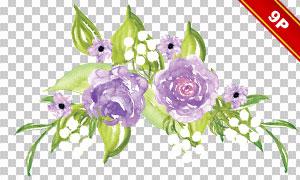 绿叶与紫色的花朵元素免抠图片素材
