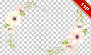 手绘水彩花朵绿叶元素免抠图片素材
