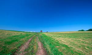 蓝天下的农田风光高清摄影图片