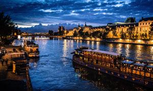 巴黎塞纳河美丽夜景高清摄影图片