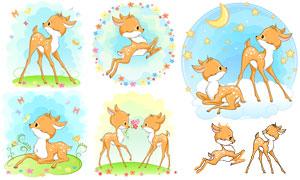 星月元素可爱卡通小鹿创意矢量素材