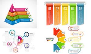 五彩配色的信息图创意设计矢量素材