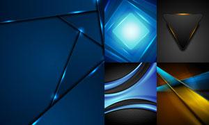 蓝色与金色的光效元素背景矢量素材