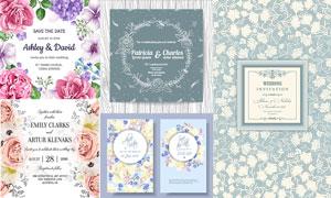 水彩花朵图案与花纹背景等矢量素材