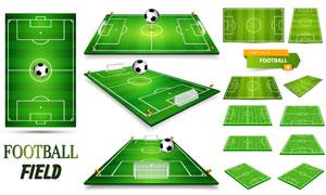 多种视图的足球场模型设计矢量素材
