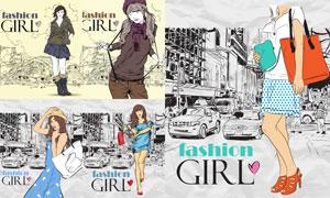 时尚购物美女人物创意插画矢量素材
