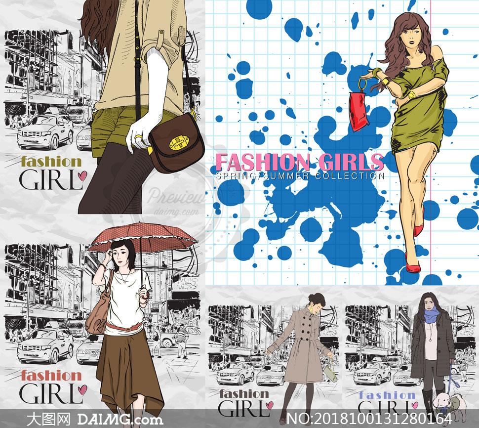 插画设计人物美女女人女性素描手绘女孩服饰服装模特时尚喷溅墨迹性感
