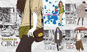 时尚服饰模特人物插画创意矢量素材
