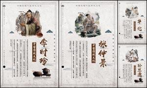 中国风四大名医中医文化展板PSD素材